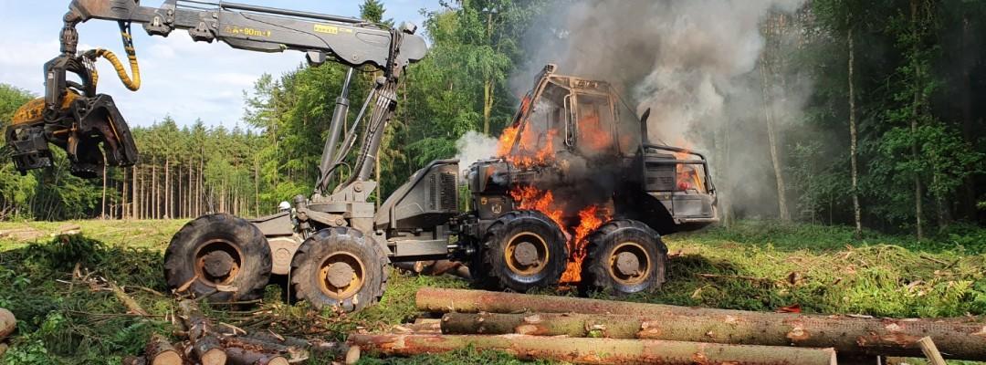 Brand eines Harvesters